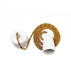 Pendel E27 Cable 1800Mm Whisky 2 X 0,75 Porcelana - Rosetón Blanco [AM-AT307]